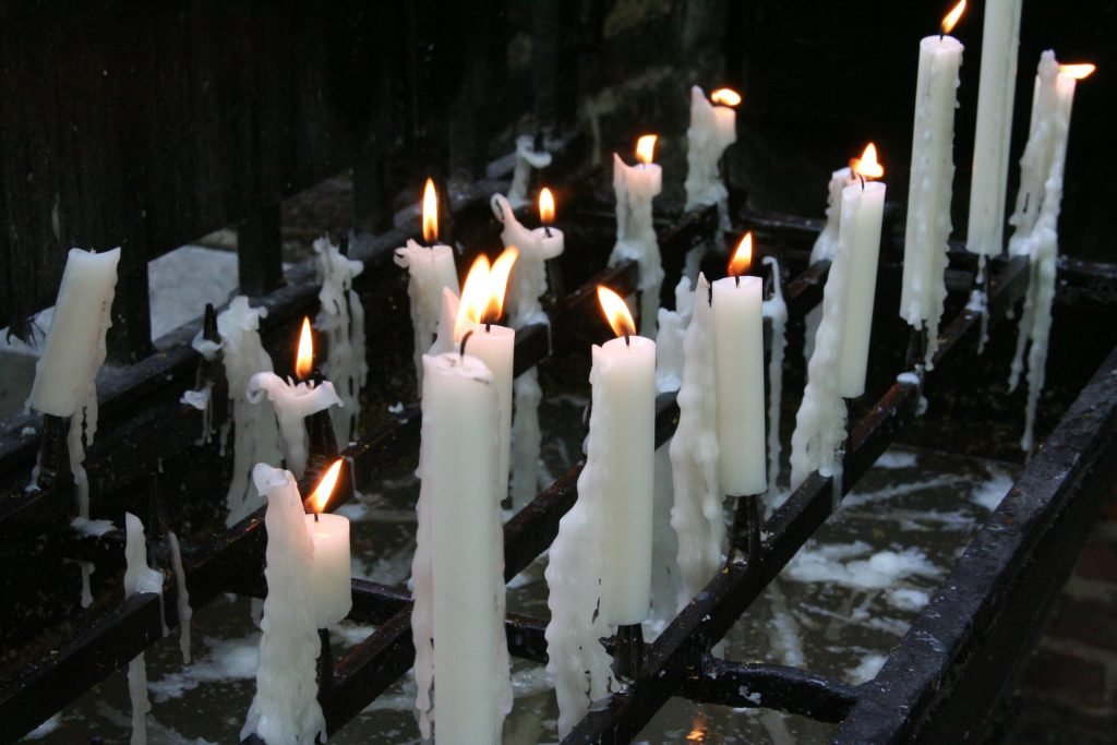 spooky candles - taken at a very holy and powerful place of pilgrimage (Kevelaer, Germany), where Mary once appeared to a merchant.