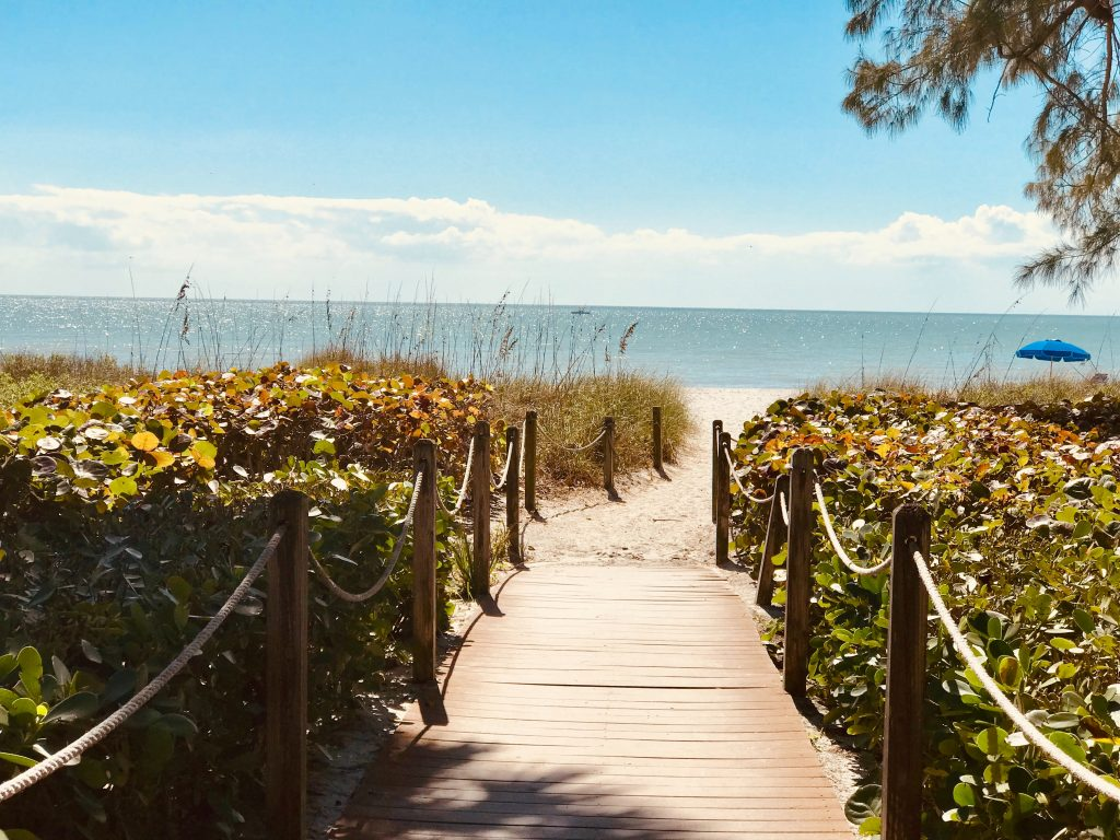 The beautiful entrance to Sanibel beach, on the west coast of Florida.